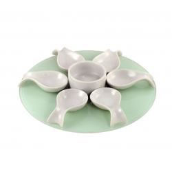 Appetizer Set 8 Pc Round Glass